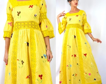 Vintage 50s 60s Sunny Yellow Embroidered and Crocheted Mexican Wedding Dress (size small, medium)