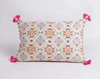 Embroidered pillow cover, multicoloured, handmade, bohemian, Peruvian, 14X21 inches