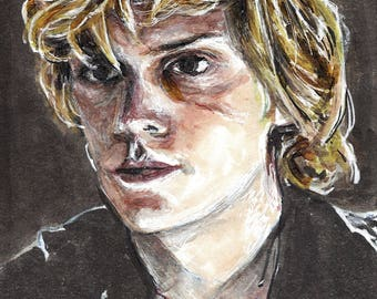 Evan Peters as Kyle Spencer American Horror story Coven Copic Marker Drawing Art Print  11.7 x 16.5 inches
