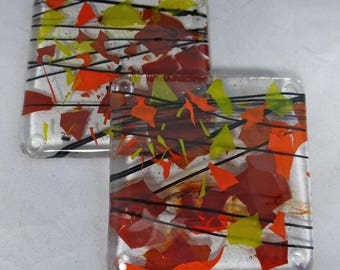 Fused Glass Coasters with Bright Red, Orange and Yellow - Sunshine Fiery Colours - set of 2