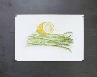 watercolor original painting | asparagus