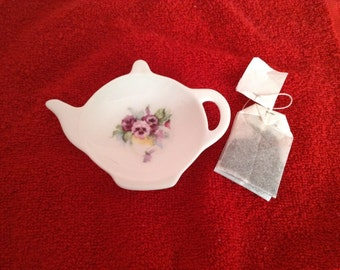 Ceramic Teabag Holder  Pansy's  Vine 4.5""