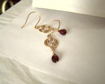 Briolette Garnet Gemstone Drop Earrings Gold Filled Dangle Handmade Artisan Womens Fine Jewelry Pierced Hook