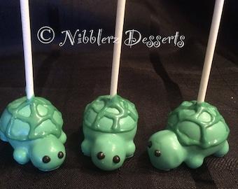 12 TURTLE cake pops, Tortoise