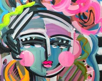 "Abstract Portrait PAINTING original on canvas, Warrior Girl, woman portrait, ""Blugirl 29"""