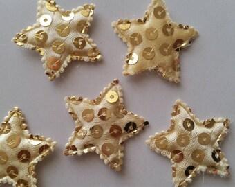 5 Golden sequins 32mm stars appliques