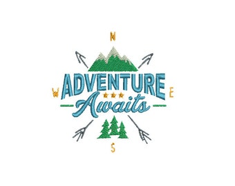 "3.76""W Small - Adventure Awaits with Mountains, Trees and Arrows Embroidery Design - Instant Digital Download"