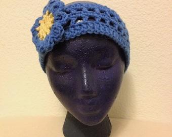 Blue ear warmer headband for women / Headbands for women / headband with flowers /