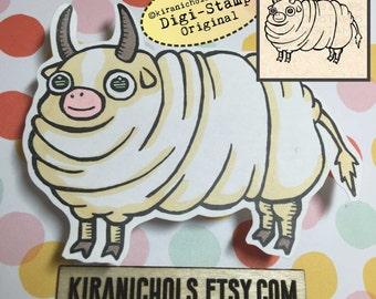 Fat Cow Digital Stamp - Digistamp - Bull Digital Stamp - Coloring Pages - Stamp - Printable Sticker - Clip Art - Printables