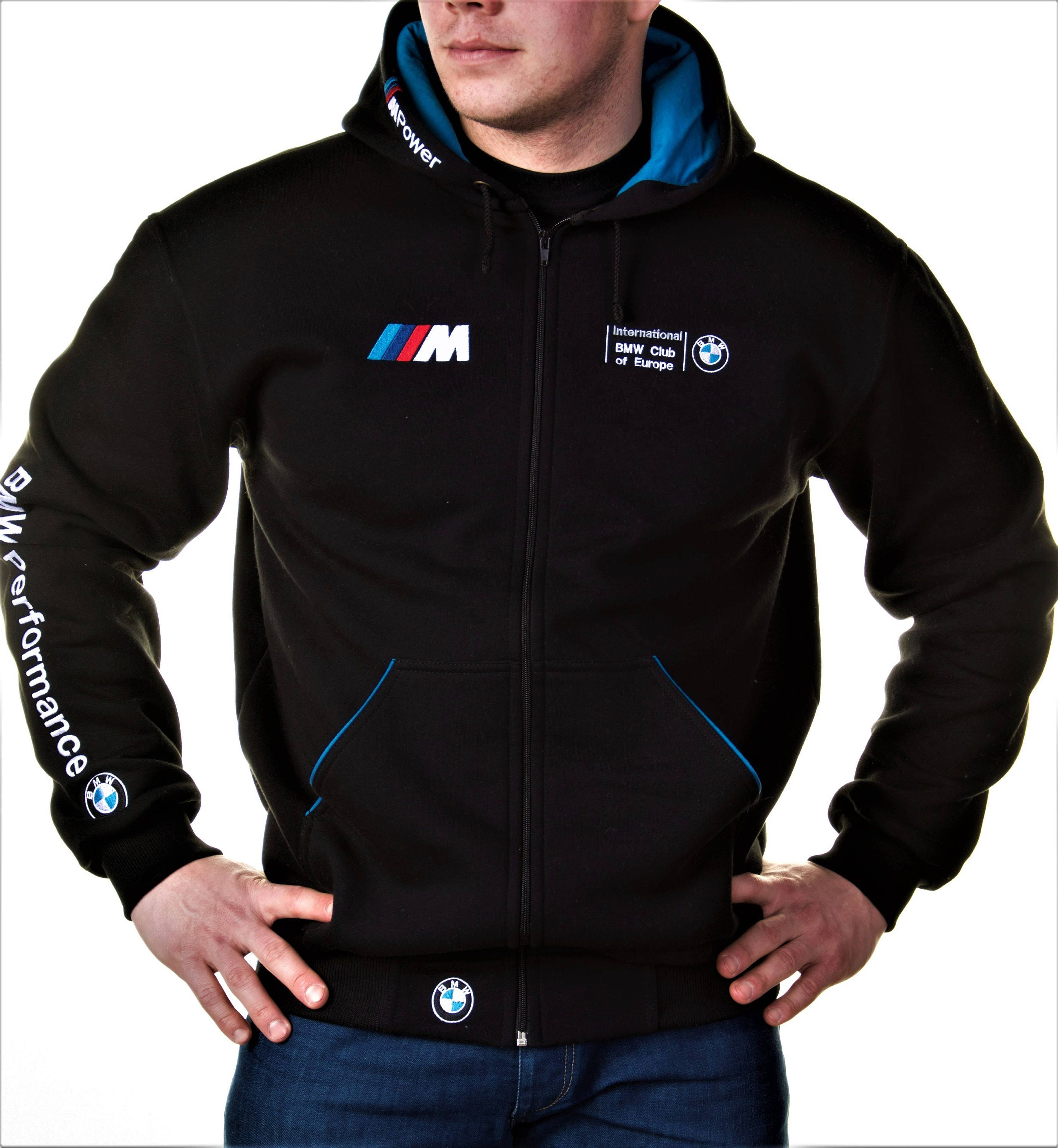 zip hoodie bmw m power motorsport embroidery logos best. Black Bedroom Furniture Sets. Home Design Ideas