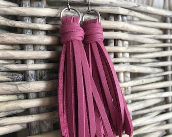 """Dusty Pink Fringe Tassel Earrings - Boho Faux Leather Tassel Earrings - Long Dangle Earrings - Gift for Her - Choose 2.5"""" or 3.5"""" Length"""
