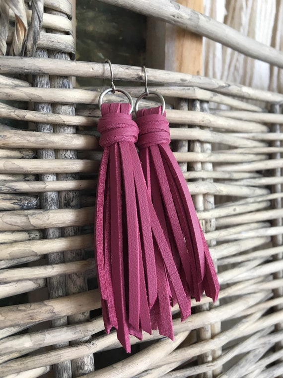 "Dusty Pink Fringe Tassel Earrings - Boho Faux Leather Tassel Earrings - Long Dangle Earrings - Gift for Her - Choose 2.5"" or 3.5"" Length"