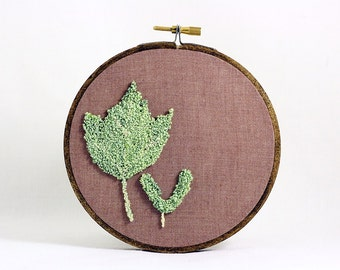 Maple leaf and Helicopter Seed Punchneedle Embroidery Hoop Wall Art. Botanical Fiber Art. Spring Green and Brown. Nature. Ready to Ship.