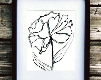 The delicate Peony, black marker drawing, pearl colored paper