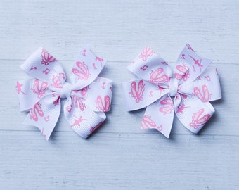 """Medium 3-3.5"""" ballet hair bow or pigtail set of two -  ballet dance - dancer - ballerina theme hair bow hairbow"""