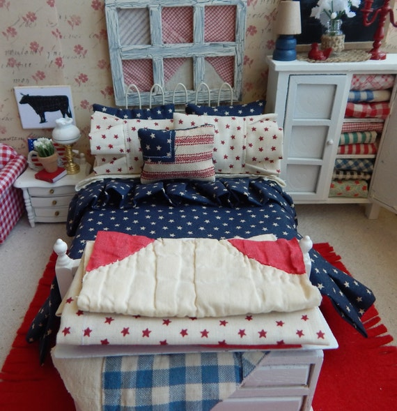 SALE-Miniature Dollhouse Americana Full Bedding Set, with Bed 1:12 Scale