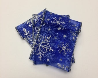 Jewelry Bead Pouches - 15 Blue Silver Snowflake Glitter Ribbon