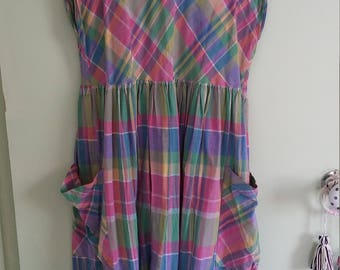 70s vintage plaid sleeveless midi dress