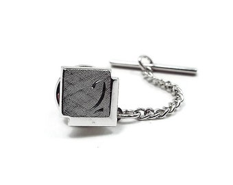 Swank Signed Vintage Tie Tack, Brushed Silver Tone Square Tie Tack, Mid Century 1960s 60s, Wedding Formal, Best Man Groom Gift