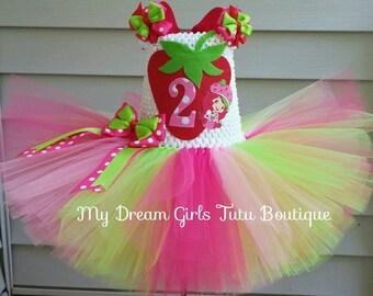 Strawberry shortcake dress, strawberry shortcake birthday tutu, berry bitty dress, strawberry girl dress, strawberry birthday outfit