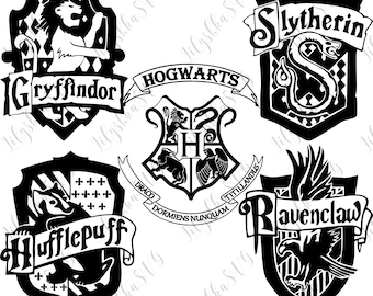 Harry Potter svg, Hogwarts houses svg, Griffindor, slytherin, Ravenclaw, Hufflepuff crests, Harry Potter cut files digital download, dxf eps
