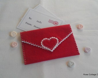 Personalised Valentines Envelope ~ Hand Embroidered Felt