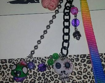 Zombie Brain Skull keychain for keys or handbags.
