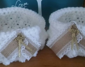 Pair of white crochet bowls or storage baskets-set of 2 hand crocheted white soft bowls/baskets