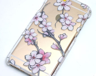 Water Color Japanese Cherry Blossom iphone Case, Clear Phone Case, iPhone 6, iphone 7, iphone 6 plus, iphone 7 plus, iphone 5, iphone se