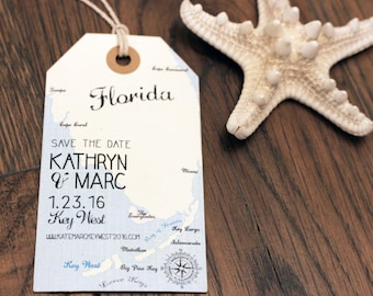 Florida Save the Date Luggage Tag Magnet. Destination Wedding. Florida Keys Design Fee