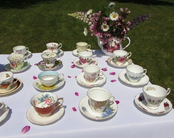 20 Mismatched Vintage Tea Cups and Saucers with MINOR DAMAGE for Craft Supplies, Display, or Use