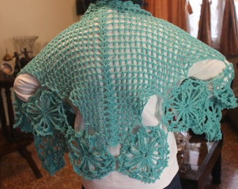 Turquoise French Shawl With Bamboo Shawl Pin