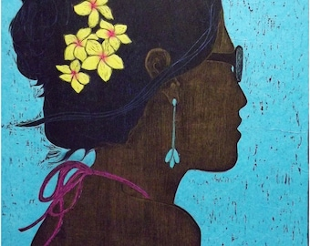 Plumeria Large 18x24 original woodblock print Wall Art