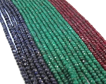 Ruby, Emerald or Sapphire Beads, Rondelles, 13 Inch Strand of Gemstones, 3.5mm - 4.5mm Beads for Making Jewelry (R-Prec1)