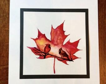 Autumn Cardinals, Original Watercolor, Birds, Nature, Painting, Colorful Art