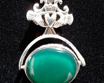 Sterling Silver Celtic Claddagh with stone that spins