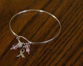 Sterling Silver Breast Cancer Awareness Bracelet