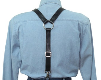 Black Leather Suspenders with Silver Ring Back