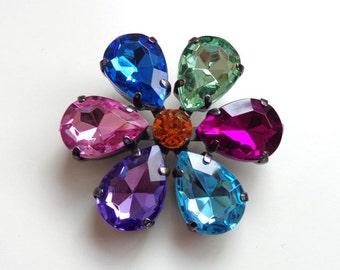 Large Rhinestone Flower Pendant - Jewel tone Pendant