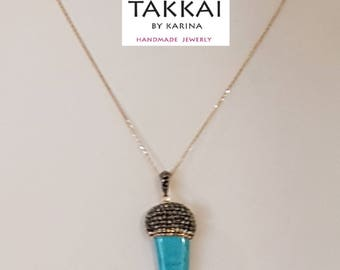 Italian horn Synthetic turquoise pendants with rhinestones. Mexican silver chain. Fashion.