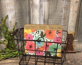 Recipe Box, Metal Basket, Metal Recipe Box, Rustic, Floral, Farmhouse