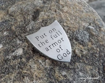 Full Armor Of God Pocket Token, Christian Gift for Him, Shield of Faith, Ephesians 6 Pocket Piece, Hand Stamped Pocket Coin, Sterling Silver