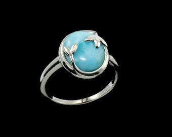 Larimar 10X12 Oval .925 Sterling Silver Olive Leaf Ring  Sizes 6-7-8