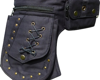 Steampunk Belt / Festival Pocket Belt / Cotton Waist Bag / Pocket Belt / Utility Belt with rivet detail and separate phone pocket.