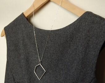 Minimalist geometric silver pendant necklace , geometric pendant necklace, minimalist necklace