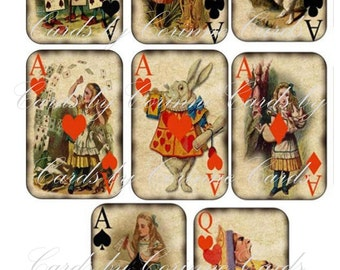 Alice in Wonderland vintage inspired set of small note cards