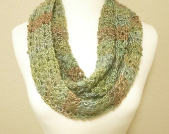 Crochet Infinity Scarf in Green and Brown