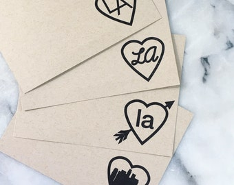 I Heart L.A. Note Cards, Set of 8 Flat Note Cards with Envelopes