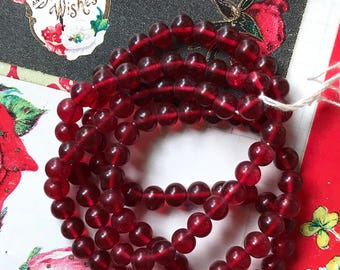 20 Vintage Cherry Brand, Miriam Haskell Glass Beads 7mm ruby Red Beads NOS, Glass Beads, Haskell beads, vintagerosefindings #B24