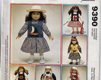 """18"""" (45.5cm) Doll Clothes / Original McCall's Crafts Uncut Sewing Pattern 9390"""